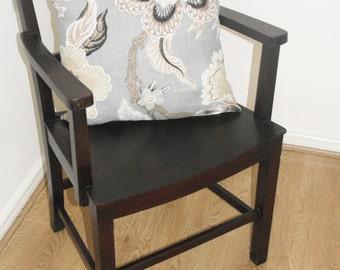 Vintage wooden armchair dining chair dark brown kitchen lounge wood rustic