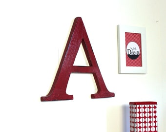 large wooden letter A red - Antiqued wood effect - giant letter - custom letter - decorated letter - mylittledecor - wedding - for men