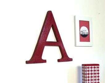 large wooden letter A red - Antiqued wood effect - giant letter - custom letter - decorated letter - mylittledecor - wedding - for men