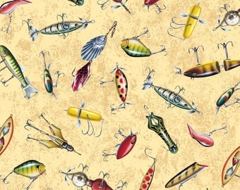 Quilting Treasures Reel It In Tan Fishing Lures 24033-A