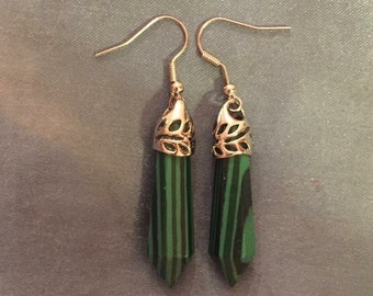 Crystal malachite green black silver dangly earrings