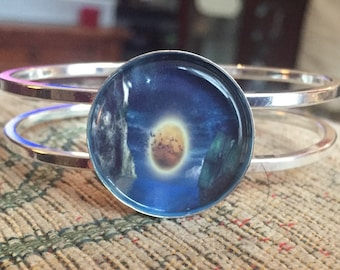 Galaxy planet silver bangle