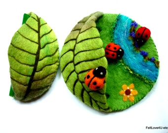 Ladybird Playscape©: Waldorf Travelling Toy for Young Child. 18 cm  base. 7 cm high.