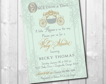 """Vintage Baby Shower Invitation for a """"Princess"""" or """"Prince"""" with a Beautiful Mint Background/DIGITAL FILE/printable/wording can be changed"""