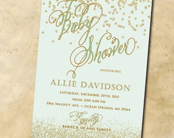 Baby Shower Invitation printable/Digital File/mint and gold, neutral baby shower, gold and mint invitation, glitter, baby boy shower, girl