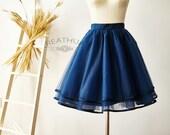 Navy Blue Satin Edge Tulle Skirt/Short Women Tulle Skirt/TUTU Tulle Skirt/Wedding Bridal Bridesmaid Skirt/Knee Length Skirt