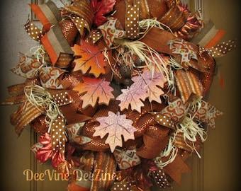 Fall Deco Mesh Wreath, Fall Leaves Deco Mesh Wreath, Fall Mesh Wreath