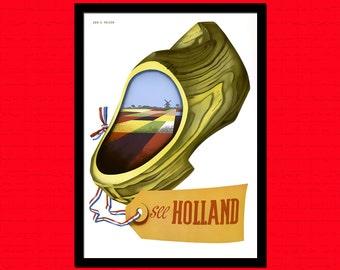 Holland Travel Print 1950 - Vintage Travel Poster Netherlands Poster Travel Holland Poster Gift Idea Holland Print   Reproduction