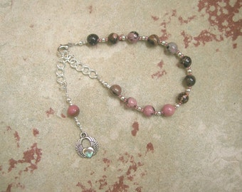 Eros Prayer Bead Bracelet in Rhodonite: Greek God of Love, Lust, and Passion