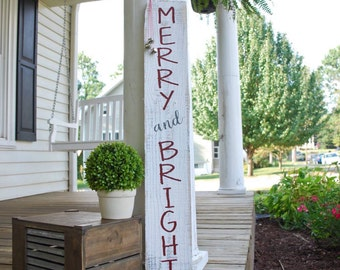 Merry and Bright pallet sign. Christmas porch sign, Christmas sign, Christmas, Merry and Bright, Rustic Christmas, Christmas decor, signs.