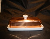 Copper Ceramic Butter Dish Vintage 1940's Rare Baker Hart & Stuart Kitchen Dining Serving Decor Collectible