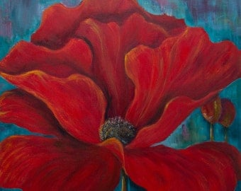 Poppy painting Red floral art Red and turquoise art Poppy print Flower art print Large painting Poppies Turquoise Teal  Dining Living room