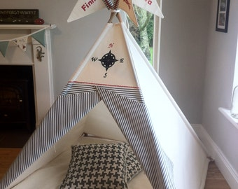 Tepee play tent with handmade compass topper and stipe doors