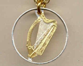 "Beautifully Cut out & 2-toned  Irish Dime size ""Harp"",  Coin Necklaces"