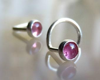 Pink Nose Stud nose jewelry - tourmaline nose piercing - tourmaline tragus stud
