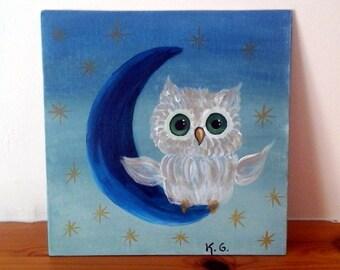 Night owl. Acrylic painting. Nursery decoration.