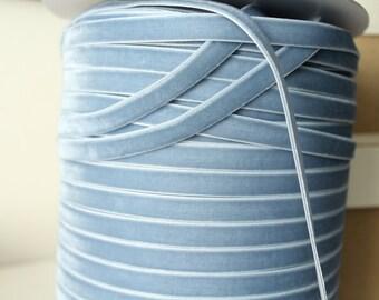 3/8 inch  (10 mm ) French Blue Velvet Ribbon / Single-face velvet ribbon  /  VRXMD38-332