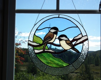 Tits on a branch (bird on a branch) stained glass