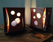Circles Lamps, Sapele  with Stained Glass Table Lamp Pair