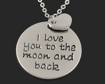 I love you to the moon and back Silver Necklace with Heart Charm - Maid of Honor Present - Best Friend Gift - Girlfriend - Anniversary