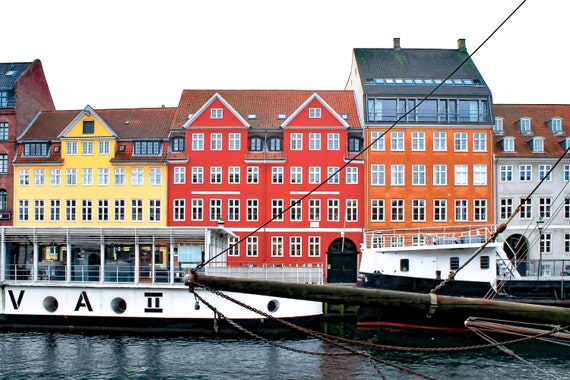 Colorful Copenhagen Canal Houses Denmark Canals Colorful