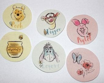 Set of 6 Disney's Winnie the Pooh and Pals Iron-on Fabric Quilting Appliques Transfers, Winnie the Pooh, Tigger, Eeyore, Piglet iron on