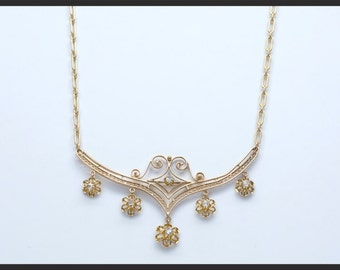 14K Yellow Gold Victorian 0.25 Carat Total Weight Diamond Necklace