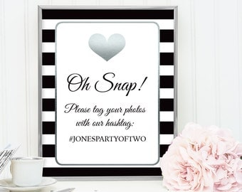 Wedding Hashtag Sign / Instagram Sign / Love Stripes / Black and White Stripes, Silver Heart Sign ▷ Printable File {or} Printed & Shipped