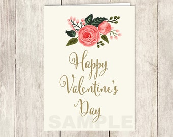 Floral Valentine's Day Card DIY / Watercolor Rose Flower / Gold, Pink Rose / Happy Valentine's Day / PRINTABLE PDF ▷ Instant Download