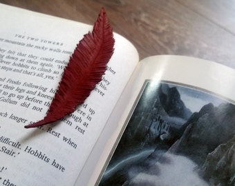 Leather hand made / carved Bookmark Feather (#1)