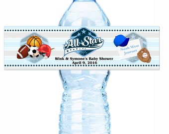 30 All star Sports Baby Shower Water Labels - All-star Baby Shower - All Star Baby Shower Labels - Sports Baby Shower - Baby Shower Stickers