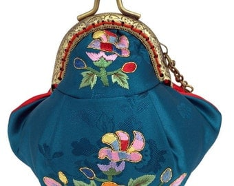 Silk Coin Purse, Blue and Red