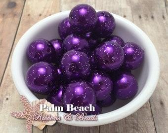 Ten (10 pcs) 20mm DEEP PURPLE Glitter Pearl Finish Acryllic Bubbleum Beads