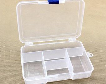 Beads/Charms Storage Containers, White Plastic with 5 Compartments Storage, Jewelry Supplies.