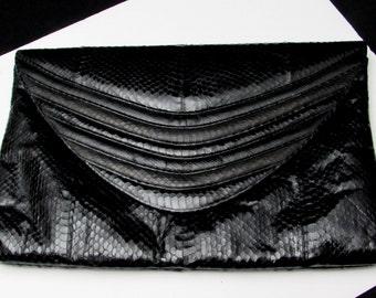80s huge genuine snakeskin designer black clutch purse | vintage extra large huge bag | handbag 80s clutch 1980s clutch 80s glam modern bag
