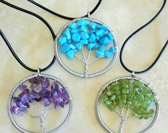 Wire Wrap Crystal Tree Cowhide Leather Necklace 16 Inches