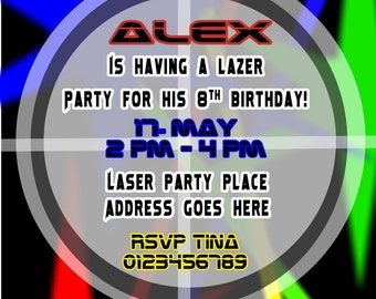Printed Personalised Laser Birthday Party Invitations x10