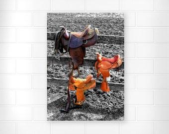 Horse Saddles - Photo Print - Country Home Decor - Horse Decor - Black and White Art - Home Decor - Farmhouse Wall Decor - Fine Art Prints