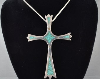 Vintage Turquoise Navajo Cross Pendant Necklace