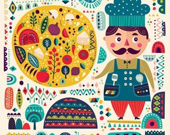 Colorful pattern with decorative pizza & funny COOK. Fine art PRINT, POSTER giclee or Canvas. Beautiful print for living room, dinner room