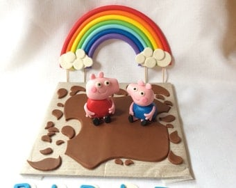 peppa pig cake topper edible fondant rainbow cake toppers decorations mud splatter birthday by SweetNewCreations