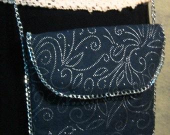 Bl;ue Denim Crossbody Bag, Blue Denim Bag, Boho Crossbody Bag, Denim and Silver Bag, Denim and Silver Crossbody Bag, Festival Bag