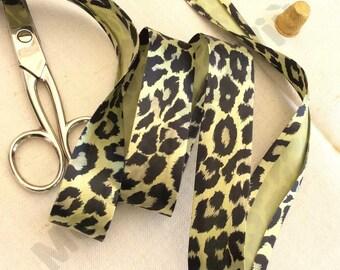 "5 meters (5,45yds) leopard skin yellow satin 1"" bias tape satin  finishing raw edge"