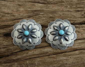 Native American Jewelry,Navajo,Sterling,Navajo Silver,Native American,Turquoise,Native, Navajo Sterling Silver & Turquoise Earrings