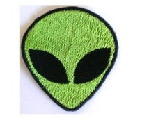 Retro Alien Patch, Embroidered Badge, Iron on Alien or Sew on Alien, Green