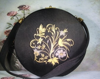 1950, Compact Purse, Black Compact Purse, Damascene Style, Purse Compact ,Evening Purse ,Formal Purse, Necessaire Handbag, French Minauderie