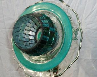 """Garden Sculpture, Glass Plate Flower, Garden Art, Glass Garden Flowers, Plate Flowers, Glass Yard Art, """"Sylvia"""" (2-040337)"""