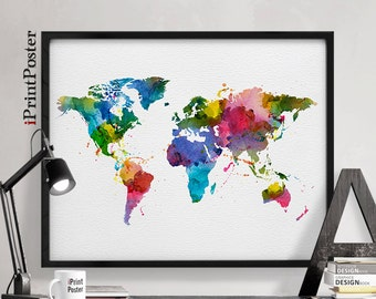 World map art, World map poster, World map watercolor world map print, large world map, travel map, wall art, home decor, iPrintPoster.