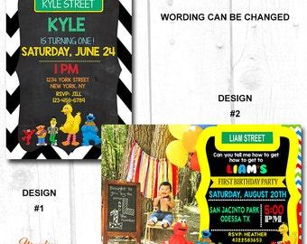 BOY SESAME STREET Birthday Invitation, Girl Sesame Street Birthday Invitation, Sesame Street 1st Birthday Invitation, Big Bird Invitation