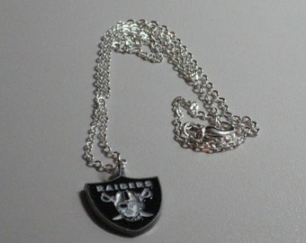 """Oakland Raiders Necklace, Sterling Silver 18"""" Chain, Official NFL Oakland Raiders Charm"""